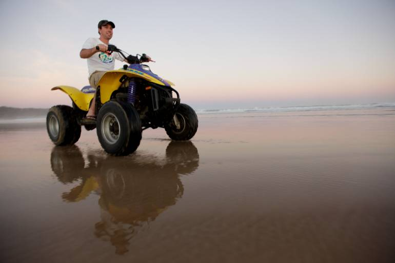 quad biking beach